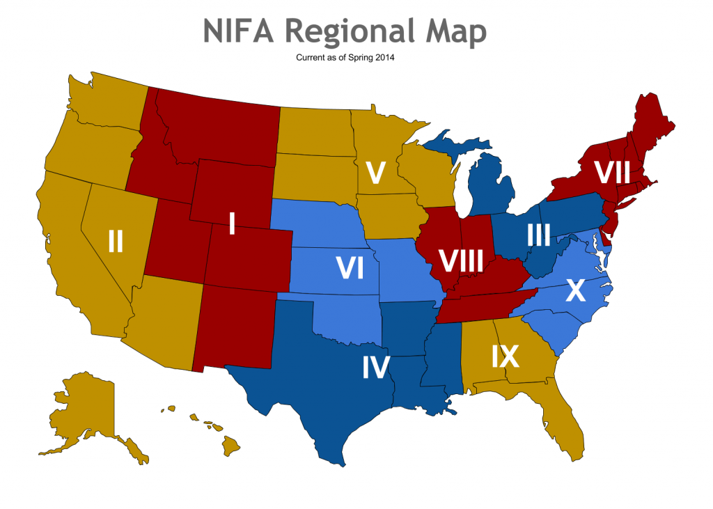 NIFA Region Map as of 2014